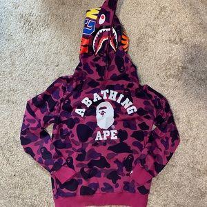A BATHING APE purple camouflage hoodie